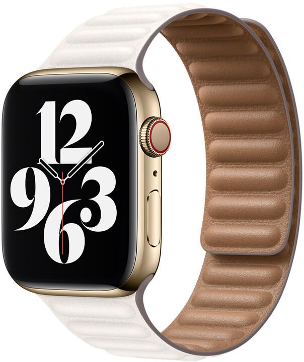 Apple řemínek pro Watch Series, kožený, 44mm, bílá, L