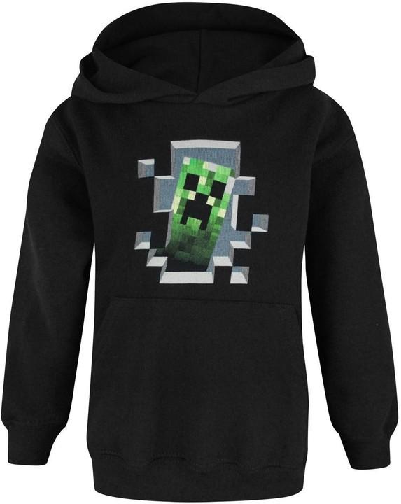 Mikina Minecraft Creeper Inside, dětská, černá (L)