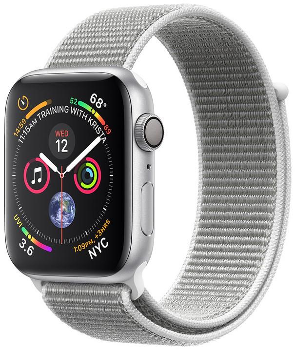 Apple Watch series 4, 44mm, pouzdro ze stříbrného hliníku/bílý provlékací řemínek
