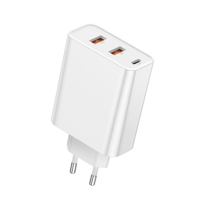 Baseus síťová nabíječka PPS s rychlonabíjením, USB-C, 2xUSB-A, 60W, bílá