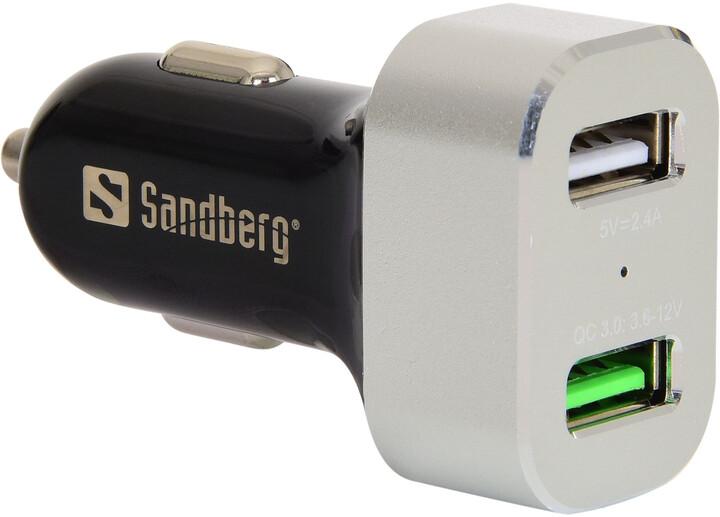 Sandberg nabíječka do auta 1xQC 3.0 + 1xUSB 2.4A