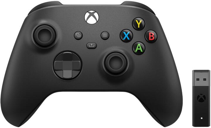 Xbox Series Bezdrátový ovladač, černý + bezdrátový adaptér (PC, Xbox Series, Xbox ONE)