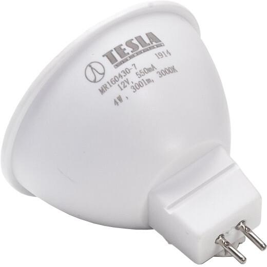 TESLA LED žárovka GU5,3 MR16, 4W, 3000K teplá bílá