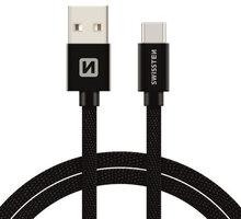 SWISSTEN textilní datový kabel USB 3.1 C/M - USB 2.0 A/M, 3m, černý - 71527900