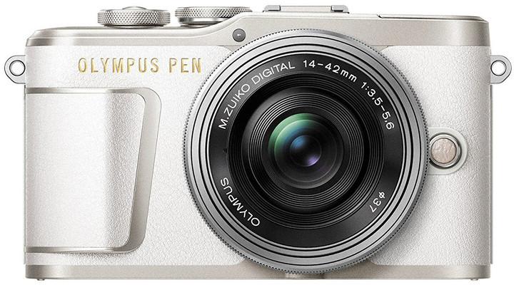 Olympus E-PL9 tělo + 14-42mm, bílá/stříbrná, Traveler Kit