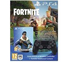 Sony PS4 DualShock 4 v2, černý + Fortnite bonusový obsah