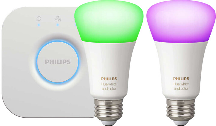 Philips HUE 2 žárovky White and Color Ambiance + Hue Bridge