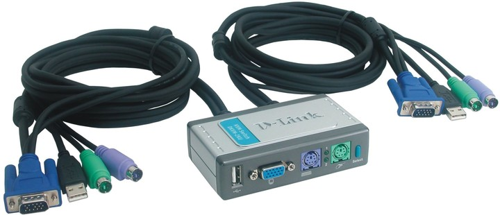 D-Link DKVM-2KU 2-Port KVM+USB Switch, s kabely