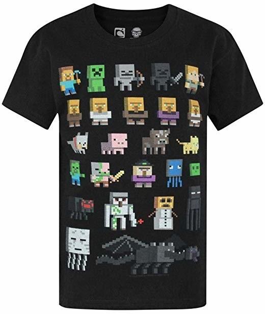 Tričko Minecraft Sprites, černé (US M / EU L)