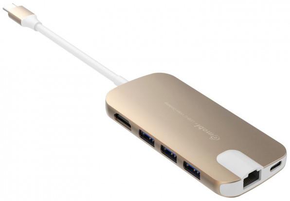 Gmobi Multi-port USB-C Hub HDMI a Ethernet, zlatá