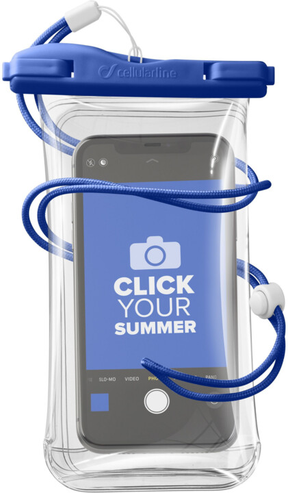 CellularLine vodotěsné pouzdro pro mobilní telefony, univerzální, IPX8, modrá
