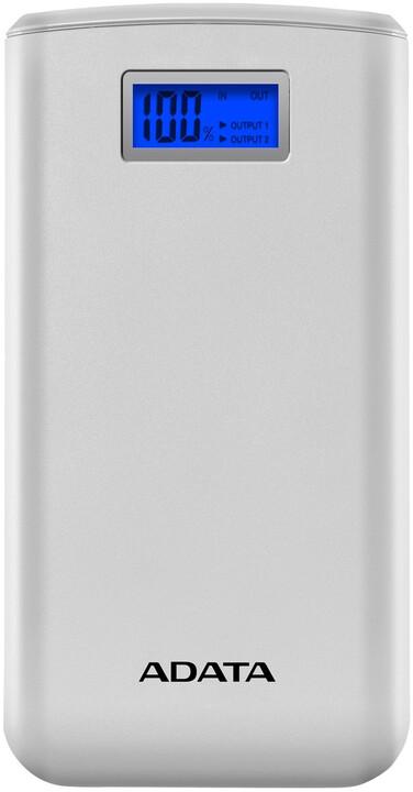 ADATA powerbanka S20000D, externí baterie pro mobil/tablet 20000mAh, bílá