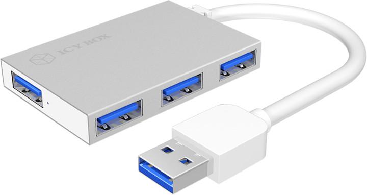 ICY BOX IB-Hub1401, 4x USB 3.0, stříbrný