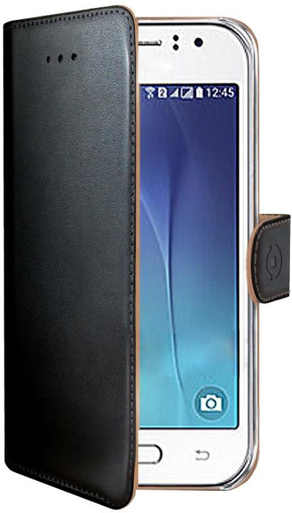CELLY Wally pouzdro pro Samsung Galaxy J1 Ace, PU kůže, černá