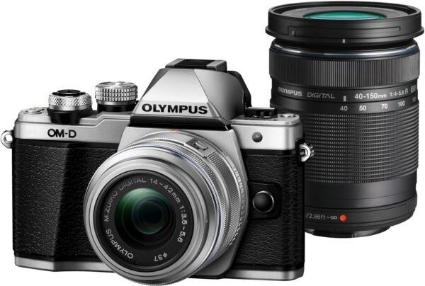 Olympus E-M10 Mark II + 14-42mm II R + 40-150mm R, stříbrná/stříbrná/černá
