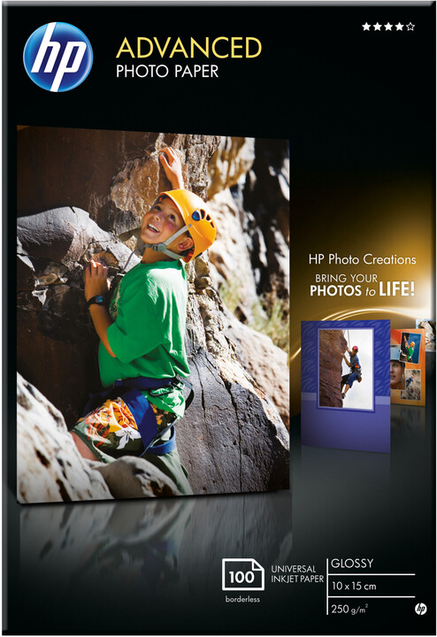 HP Foto papír Advanced Glossy Q8692A, 10x15, 100 ks, 250g/m2, lesklý