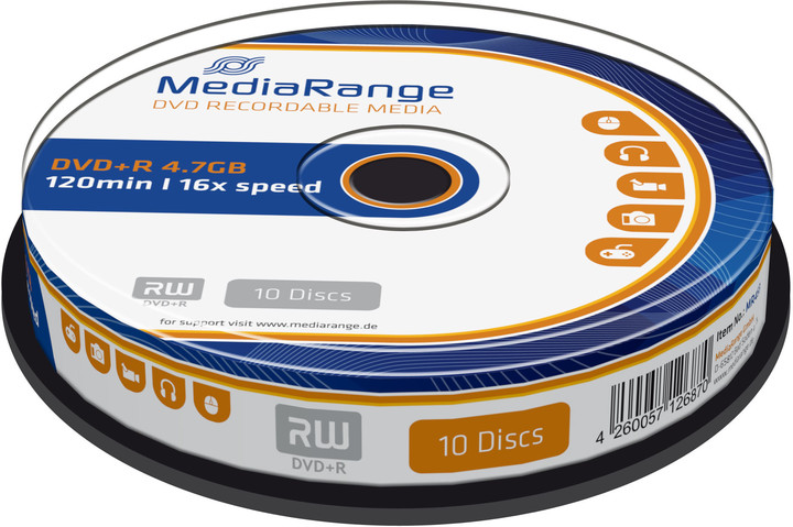 MediaRange DVD+R 4,7GB 16x, Spindle 10ks