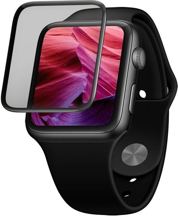 FIXED ochranné sklo pro Apple Watch 44mm s aplikátorem, lepení přes celý displej, černá