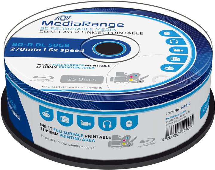 MediaRange BD-R DL, 6x, 50GB, 25ks, Printable, Spindle