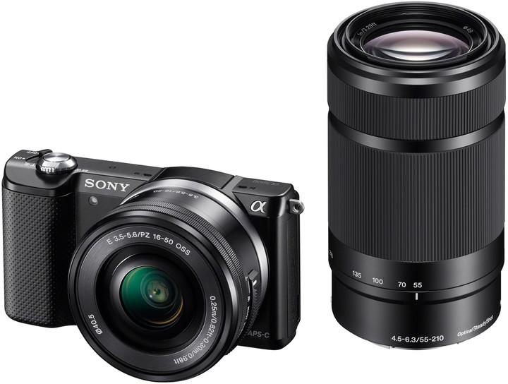 Sony Alpha 5000 + 16-50mm + 55-210mm, černá