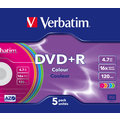 Verbatim DVD+R 4,7GB 16x Slim, Colour, 5ks