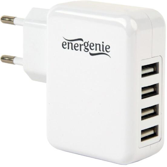 Gembird nabíječka, 4x USB, 15W, bílá