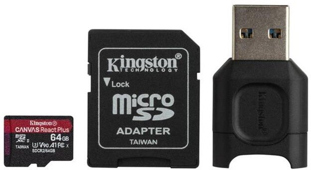 Kingston Micro SDXC Canvas React Plus 64GB 285MB/s UHS-II U3 + adaptér