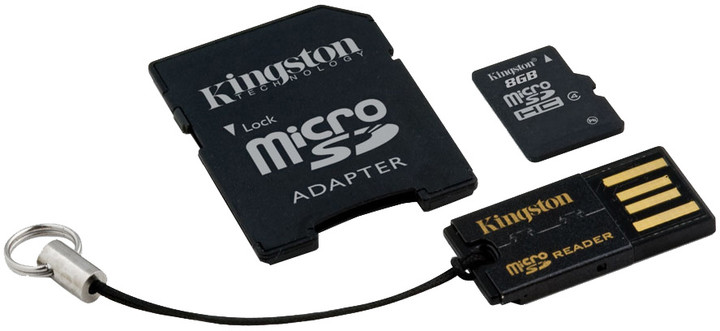 Kingston Micro SDHC 8GB Class 4 + SD adaptér + USB čtečka