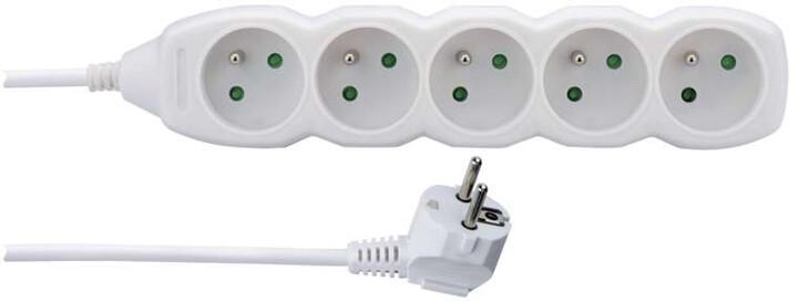 Emos prodlužovací kabel – 5 zásuvek, 1,5m, bílá