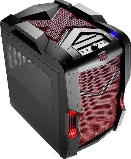 Aerocool Strike-X CUBE, červená LED, černá