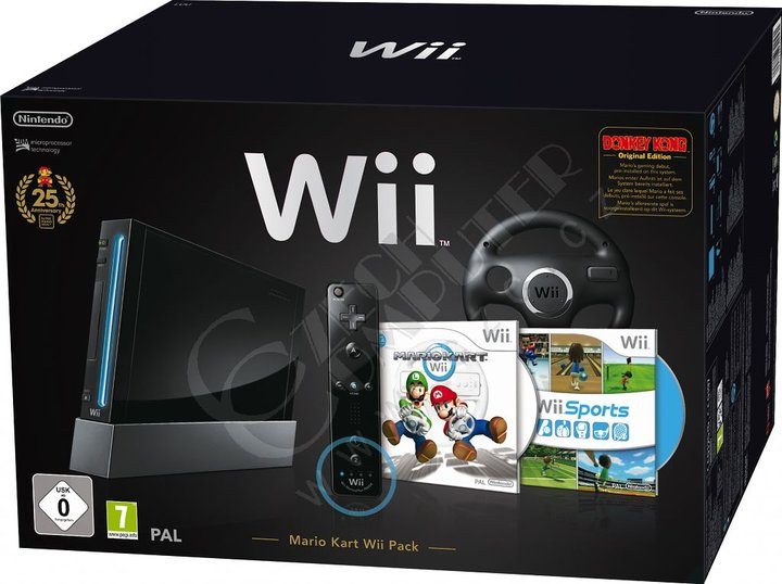 Nintendo Wii - Black Mario 25th Anniversary Pak with Mario Kart
