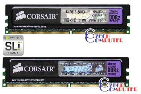 Corsair DIMM 1024MB DDR II 675MHz Twin2X1024-5400C4