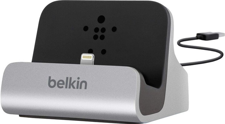 Belkin Mixit nabíjecí a sychronizační dok pro iPhone 5/6/7, vč. light. konektoru, stříbrná
