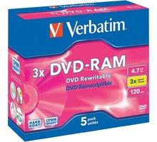 Verbatim DVD-RAM 3x 4,7GB jewel (non-cartridge) 5ks