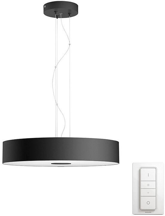 Philips Hue LED Závěsné svítidlo Fair White Ambiance černé s dálkovým ovladačem