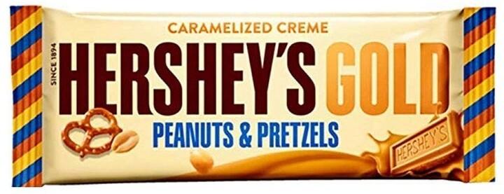 Hershey's GOLD čokoláda s kousky preclíků a arašídů, 39g