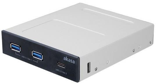 """Akasa AK-ICR-32, USB hub 2x USB 3.1 Gen1 Type-A a 1x USB 3.1 Gen2 Type-C do 3,5"""", interní, černá"""
