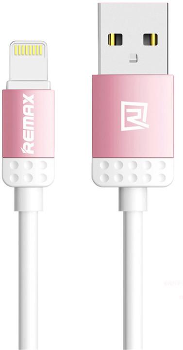 Remax Lovely datový kabel s lightning pro iPhone 5/6, 1m, růžová