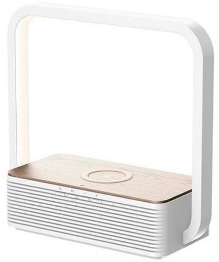 IMMAX LED stolní lampička Rooster s BT reproduktorem a bezdrátovým nabíjením QI, 4W, bílá