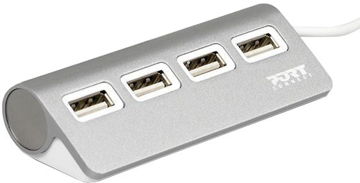 PORT CONNECT USB HUB, 4x USB 3.0, šedý