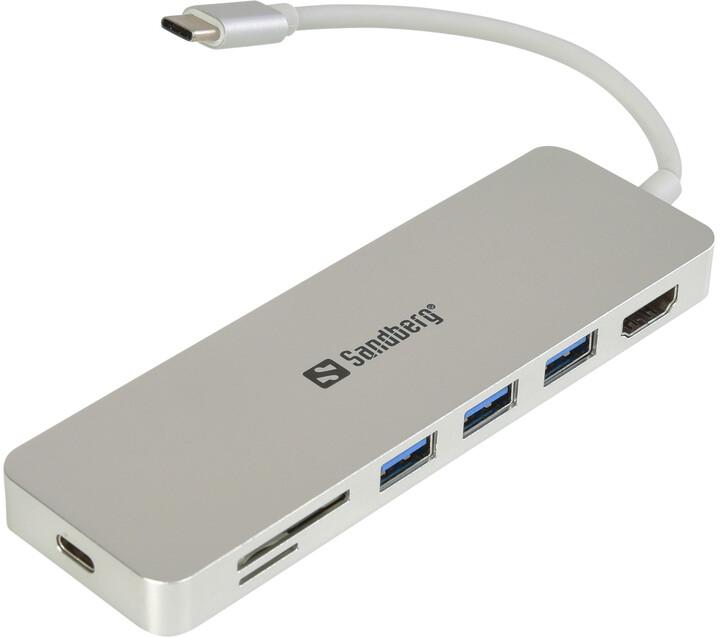 Sandberg USB-C HUB, HDMI+SD+USB+USB-C, stříbrná