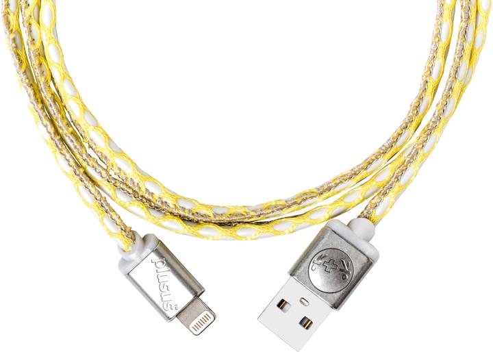 PlusUs LifeStar Premium Handcrafted (USB) nabíjecí Lightning kabel (1m) - Yellow / Dark Grey