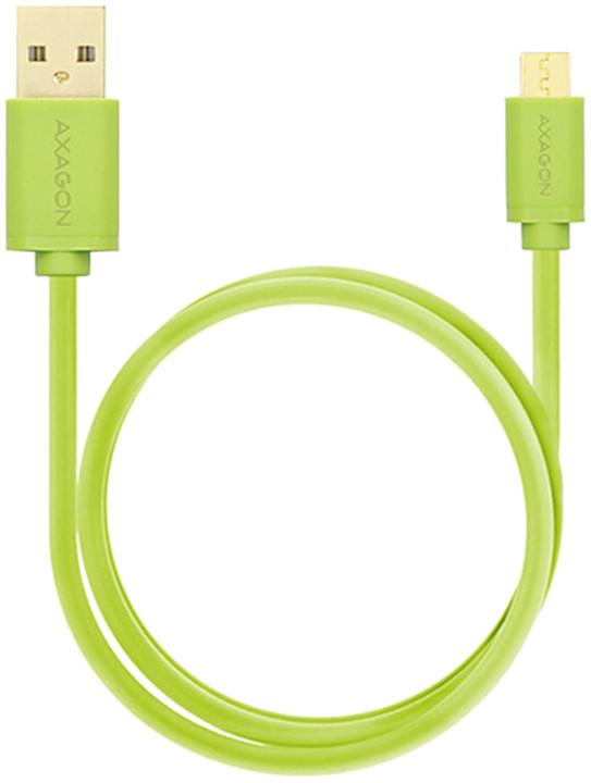AXAGON BUMM-AM15QG, HQ Kabel Micro USB - USB A, datový a nabíjecí 2A, zelený, 1.5 m