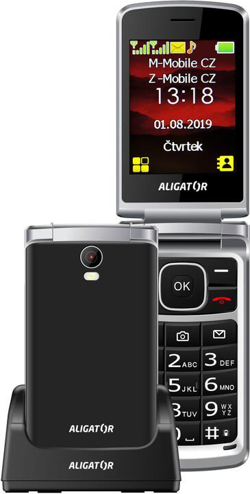 Aligator V710 Senior, Black - Silver + nabíjecí stojánek