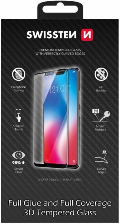 SWISSTEN ochranné sklo pro iPhone 12/12 Pro, ultra odolné, 3D, černá