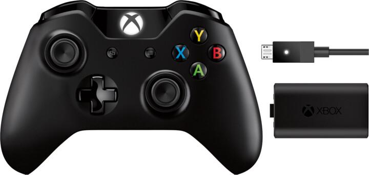 Xbox ONE Bezdrátový ovladač, černý + nabíjecí sada (PC, Xbox ONE)