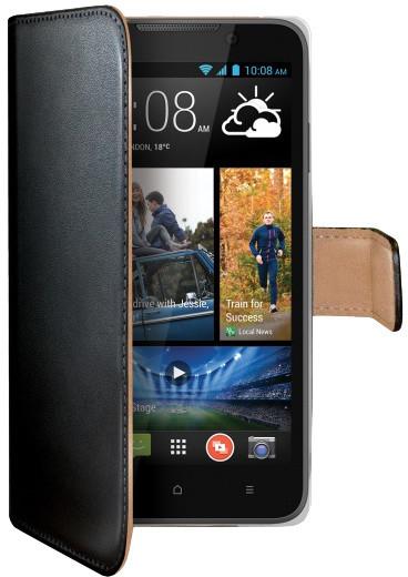 CELLY Wally pouzdro pro HTC Desire 516 Dual SIM, PU kůže, černá