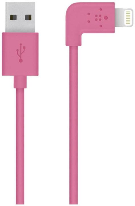 Belkin Mixit s Lightning konektorem, 90°, 1.2m, růžová