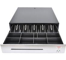 Virtuos pokladní zásuvka C430C, s kabelem, kovové držáky, nerez panel, 9-24V, černá - EKA0055