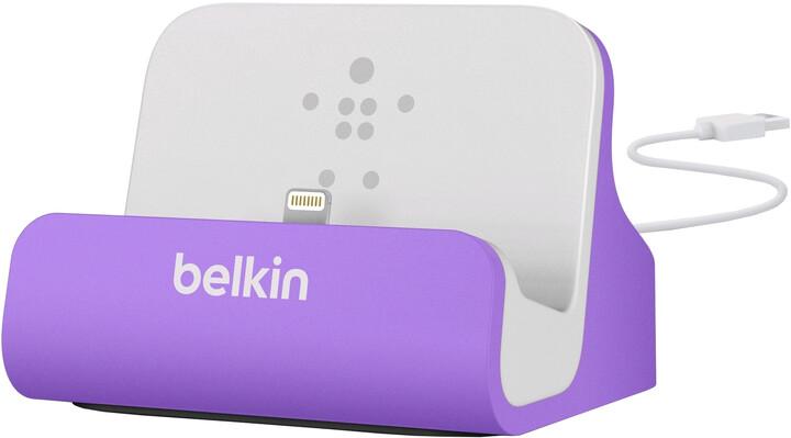Belkin Mixit nabíjecí a sychronizační dok pro iPhone 5/SE, vč. light. konektoru, fialová